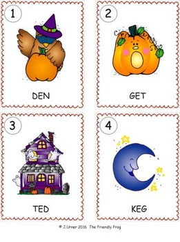 I-Spy CVC Word Work - Short /e/ Assorted Words (October Edition) Basic
