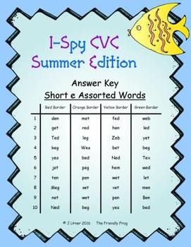 I-Spy CVC Word Work - Short /e/ Assorted Words (Summer Edition) Basic