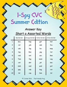 I-Spy CVC Word Work - Short /o/ Assorted Words (Summer Edition) Basic