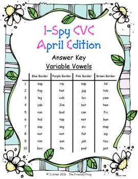 I-Spy CVC Word Work - Variable Vowel Words (April Edition) Basic