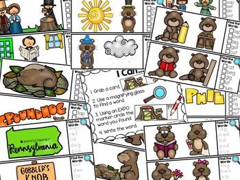 I Spy CVC Words Literacy Center - Groundhog's Day Edition