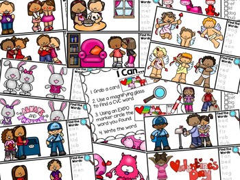 I Spy CVC Words Literacy Center - Valentine's Day Edition