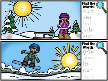 I Spy CVC Words Literacy Center - Winter Edition