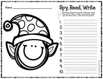 I Spy CVC Words! {Spy, Read, Write} {Elf Edition} {FREE}