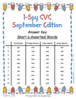 I-Spy CVC Tiny Words - Short /a/ Assorted Words (September Edition) Set 1