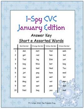 I-Spy CVC Tiny Words - Short /e/ Assorted Words (Jan. Edition) Set 1