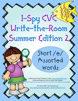I-Spy CVC Tiny Words - Short /e/ Assorted Words (Summer Edition) Set 2
