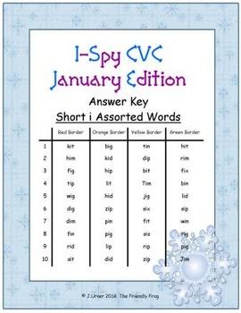 I-Spy CVC Tiny Words - Short /i/ Assorted Words (Jan. Edition) Set 1