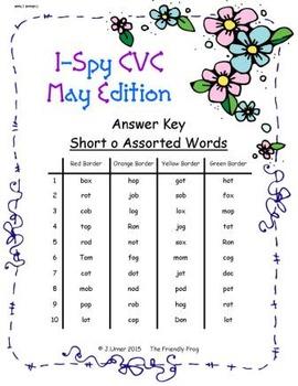 I-Spy CVC Tiny Words - Short /o/ Assorted Words (May Edition) Set 2