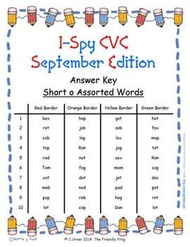 I-Spy CVC Tiny Words - Short /o/ Assorted Words (September Edition) Set 2