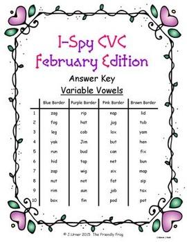 I-Spy CVC Tiny Words - Variable Vowel Words (Feb. Edition) Set 1