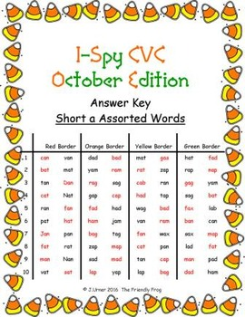 I-Spy CVC in ABC Order - Short /a/ Assorted Words (October Edition) Set 1