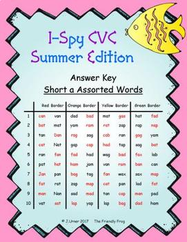 I-Spy CVC in ABC Order - Short /a/ Assorted Words (Summer Edition)