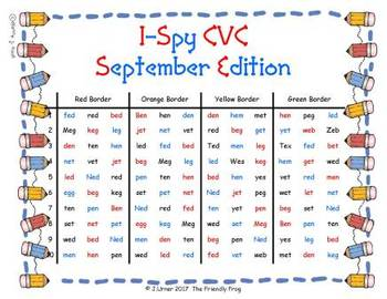 I-Spy CVC in ABC Order - Short /e/ Assorted Words (September Edition) Set 2