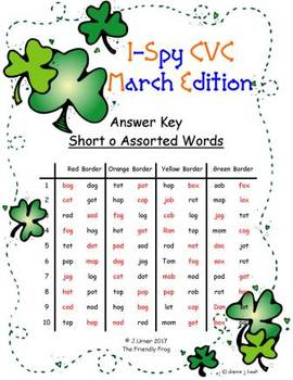 I-Spy CVC in ABC Order - Short /o/ Assorted Words (March Edition)