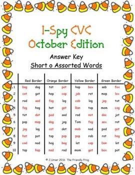 I-Spy CVC in ABC Order - Short /o/ Assorted Words (October Edition) Set 1
