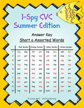 I-Spy CVC in ABC Order - Short /o/ Assorted Words (Summer Edition)