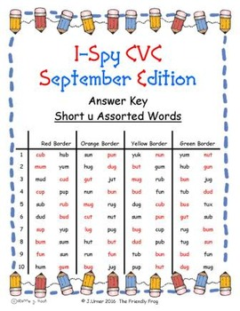 I-Spy CVC in ABC Order - Short /u/ Assorted Words (September Edition) Set 1