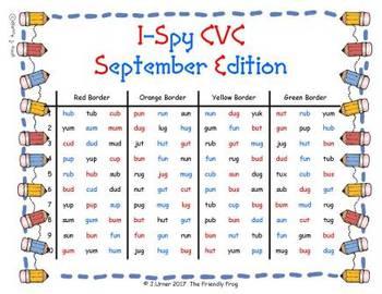 I-Spy CVC in ABC Order - Short /u/ Assorted Words (September Edition) Set 2