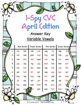 I-Spy CVC in ABC Order - Variable Vowel Words (April Edition)