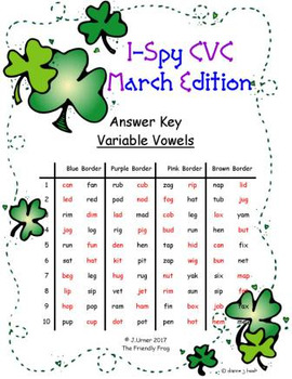 I-Spy CVC in ABC Order - Variable Vowel Words (March Edition)