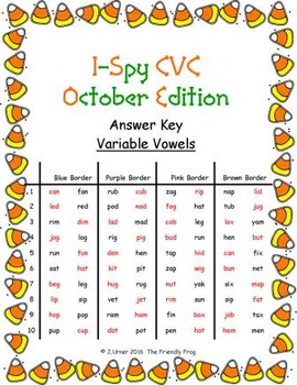 I-Spy CVC in ABC Order - Variable Vowel Words (October Edition) Set 1