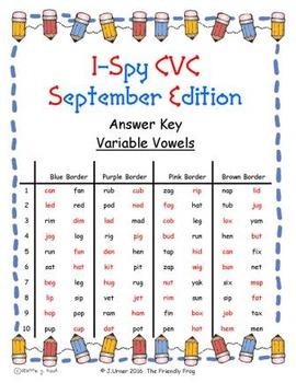 I-Spy CVC in ABC Order - Variable Vowel Words (September Edition) Set 1