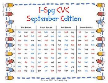 I-Spy CVC in ABC Order - Variable Vowel Words (September Edition) Set 2