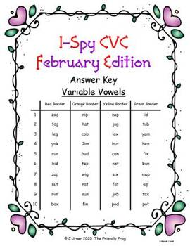 I-Spy CVC in ASL - Variable Vowel Words (February Edition)