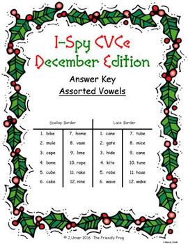 I-Spy CVCe Match-Up - Assorted Vowels (Decemer Edition)