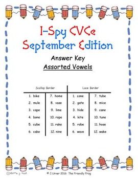 I-Spy CVCe Match-Up - Assorted Vowels (September Edition)