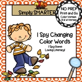 I Spy Changing Color Words:  NO PREP Fall Leaves Themed I Spy Activity