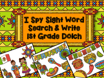 I Spy Cinco de Mayo Sight Word Search: Dolch First Grade
