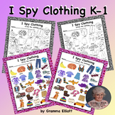 I Spy Clothing Worksheets and and Cards Category Sorting K-1