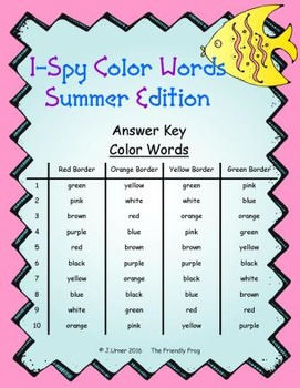 I-Spy Color Words (Summer Edition) Basic