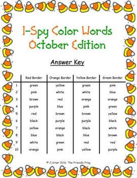 I-Spy Color Words Word Work (October Edition) Basic