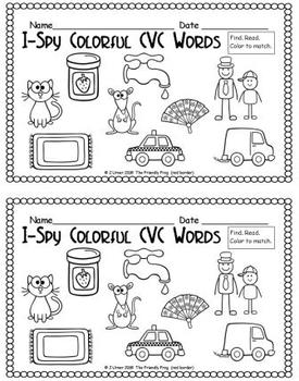 I-Spy Colorful CVC Words - Short /a/ Assorted Words (March Edition)