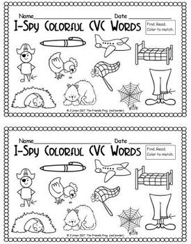 I-Spy Colorful CVC Words - Short /e/ Assorted Words (May Edition)