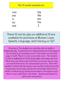 Kindergarten Sight Word I-Spy - Freebie Version