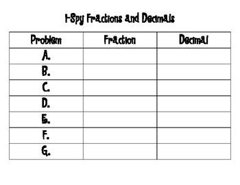 I-Spy Fractions and Decimals
