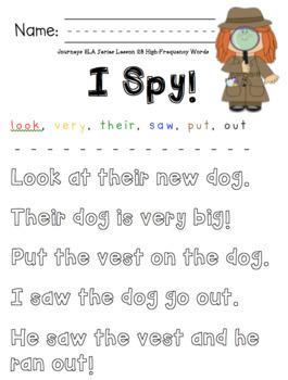 I Spy! High-Frequency Word Center Bundle for HMH Journeys 2017 Kindergarten