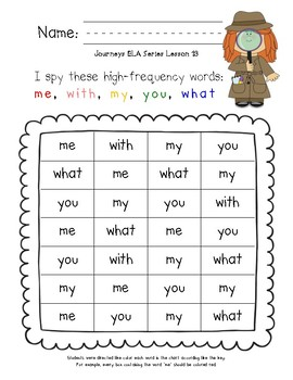 I Spy! High-Frequency Word Centers for HMH Journeys 2017 Kindergarten Unit 3