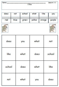 I-Spy High Frequency Words - 1st Grade Wonders