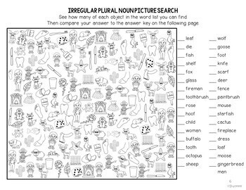 I Spot Regular and Irregular Plural Nouns Picture Searches