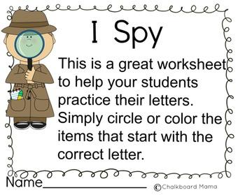 I Spy- Letter/Sound Recognition Packet