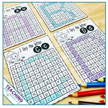 Letter Recognition Activity and Worksheets I Spy Letters