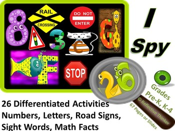 I Spy Letters, Numbers, Road Signs, Sight Words, & Math Fa