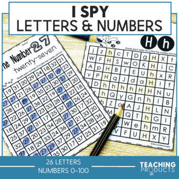 Letter and Number Recognition Activities and Worksheets Bundle I Spy