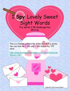 I Spy Lovely Sweet Sight Words Freebie