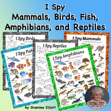 Animal Classification I Spy Mammals Birds Fish Amphibians Reptiles Printables